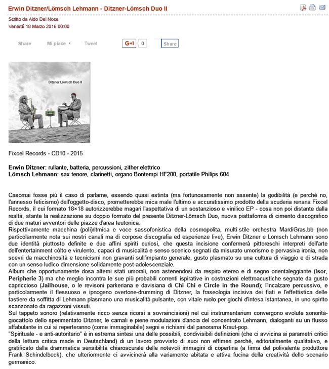 Aldo Del Noce über Ditzner Lömsch Duo II